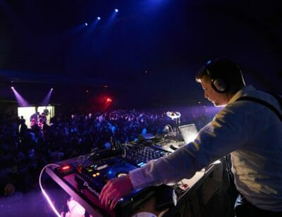 DJ playing music at the New Year's Eve party in Barcelona.